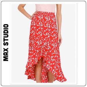🆕 Max Studio Floral Print Ruffle Hem Skirt